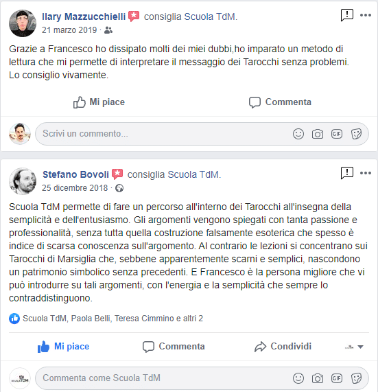 Testimonianza Facebook corso Tarocchi Roma Milano Torino Bologna Ancona
